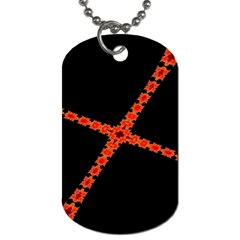 Red Fractal Cross Digital Computer Graphic Dog Tag (Two Sides)