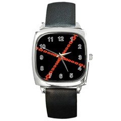 Red Fractal Cross Digital Computer Graphic Square Metal Watch