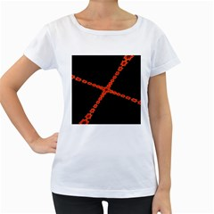 Red Fractal Cross Digital Computer Graphic Women s Loose-Fit T-Shirt (White)
