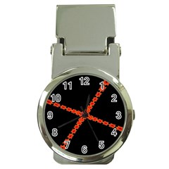 Red Fractal Cross Digital Computer Graphic Money Clip Watches