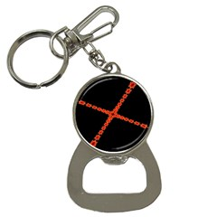 Red Fractal Cross Digital Computer Graphic Button Necklaces