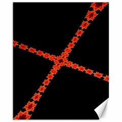Red Fractal Cross Digital Computer Graphic Canvas 16  X 20