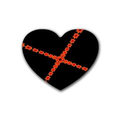Red Fractal Cross Digital Computer Graphic Rubber Coaster (heart)