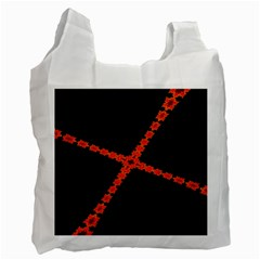 Red Fractal Cross Digital Computer Graphic Recycle Bag (two Side)