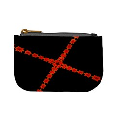 Red Fractal Cross Digital Computer Graphic Mini Coin Purses