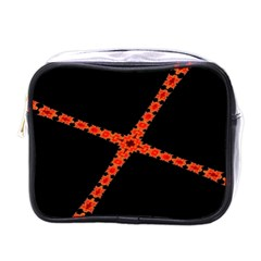 Red Fractal Cross Digital Computer Graphic Mini Toiletries Bags