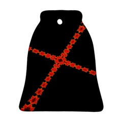 Red Fractal Cross Digital Computer Graphic Ornament (Bell)