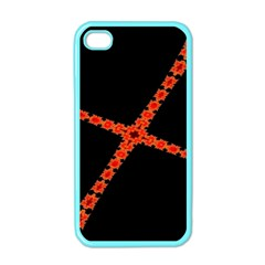 Red Fractal Cross Digital Computer Graphic Apple iPhone 4 Case (Color)