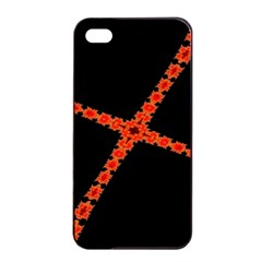 Red Fractal Cross Digital Computer Graphic Apple Iphone 4/4s Seamless Case (black)
