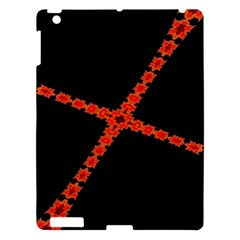 Red Fractal Cross Digital Computer Graphic Apple Ipad 3/4 Hardshell Case