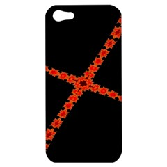 Red Fractal Cross Digital Computer Graphic Apple iPhone 5 Hardshell Case