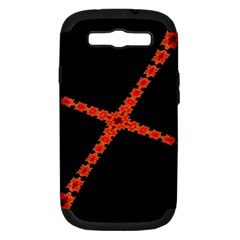 Red Fractal Cross Digital Computer Graphic Samsung Galaxy S Iii Hardshell Case (pc+silicone)