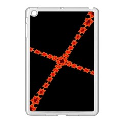 Red Fractal Cross Digital Computer Graphic Apple iPad Mini Case (White)