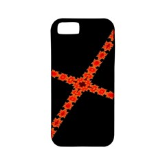Red Fractal Cross Digital Computer Graphic Apple iPhone 5 Classic Hardshell Case (PC+Silicone)