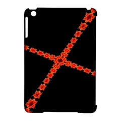 Red Fractal Cross Digital Computer Graphic Apple iPad Mini Hardshell Case (Compatible with Smart Cover)