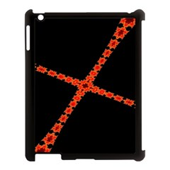 Red Fractal Cross Digital Computer Graphic Apple iPad 3/4 Case (Black)