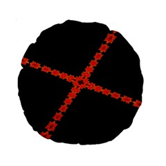 Red Fractal Cross Digital Computer Graphic Standard 15  Premium Round Cushions