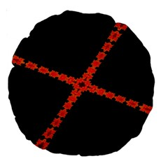 Red Fractal Cross Digital Computer Graphic Large 18  Premium Round Cushions