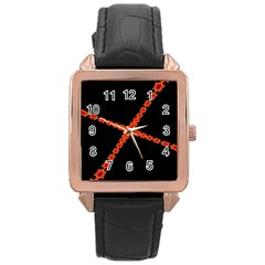 Red Fractal Cross Digital Computer Graphic Rose Gold Leather Watch