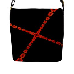 Red Fractal Cross Digital Computer Graphic Flap Messenger Bag (L)