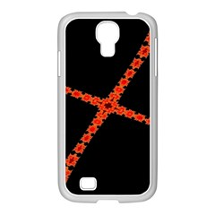Red Fractal Cross Digital Computer Graphic Samsung GALAXY S4 I9500/ I9505 Case (White)