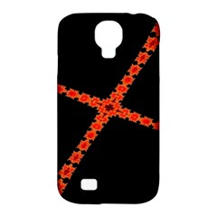 Red Fractal Cross Digital Computer Graphic Samsung Galaxy S4 Classic Hardshell Case (PC+Silicone)