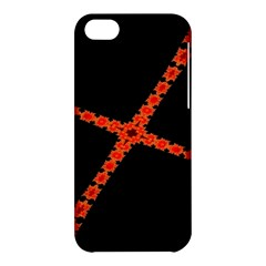 Red Fractal Cross Digital Computer Graphic Apple iPhone 5C Hardshell Case