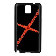 Red Fractal Cross Digital Computer Graphic Samsung Galaxy Note 3 N9005 Case (Black)