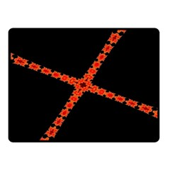 Red Fractal Cross Digital Computer Graphic Double Sided Fleece Blanket (Small)