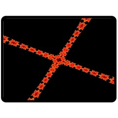 Red Fractal Cross Digital Computer Graphic Double Sided Fleece Blanket (Large)