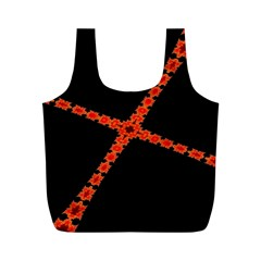Red Fractal Cross Digital Computer Graphic Full Print Recycle Bags (M)