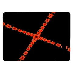 Red Fractal Cross Digital Computer Graphic Samsung Galaxy Tab Pro 12 2  Flip Case