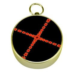 Red Fractal Cross Digital Computer Graphic Gold Compasses