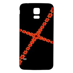 Red Fractal Cross Digital Computer Graphic Samsung Galaxy S5 Back Case (White)