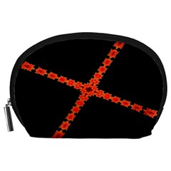 Red Fractal Cross Digital Computer Graphic Accessory Pouches (Large)