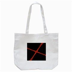 Red Fractal Cross Digital Computer Graphic Tote Bag (White)