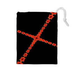 Red Fractal Cross Digital Computer Graphic Drawstring Pouches (Large)