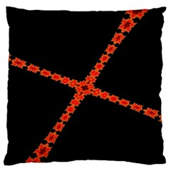 Red Fractal Cross Digital Computer Graphic Large Flano Cushion Case (One Side)
