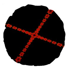 Red Fractal Cross Digital Computer Graphic Large 18  Premium Flano Round Cushions