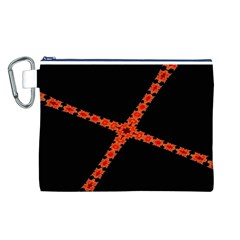 Red Fractal Cross Digital Computer Graphic Canvas Cosmetic Bag (L)