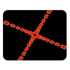 Red Fractal Cross Digital Computer Graphic Double Sided Flano Blanket (Large)