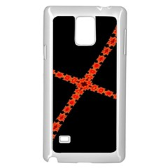 Red Fractal Cross Digital Computer Graphic Samsung Galaxy Note 4 Case (white)