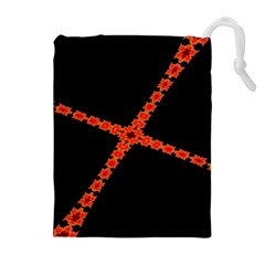 Red Fractal Cross Digital Computer Graphic Drawstring Pouches (extra Large)