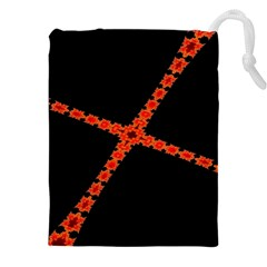 Red Fractal Cross Digital Computer Graphic Drawstring Pouches (xxl)