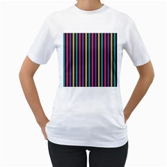 Stripes Colorful Multi Colored Bright Stripes Wallpaper Background Pattern Women s T Shirt (white) (two Sided)