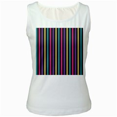 Stripes Colorful Multi Colored Bright Stripes Wallpaper Background Pattern Women s White Tank Top