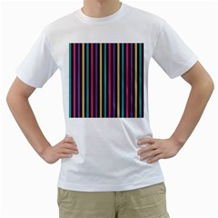 Stripes Colorful Multi Colored Bright Stripes Wallpaper Background Pattern Men s T-Shirt (White) (Two Sided)