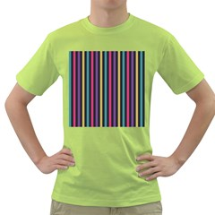 Stripes Colorful Multi Colored Bright Stripes Wallpaper Background Pattern Green T-Shirt