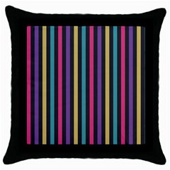 Stripes Colorful Multi Colored Bright Stripes Wallpaper Background Pattern Throw Pillow Case (Black)