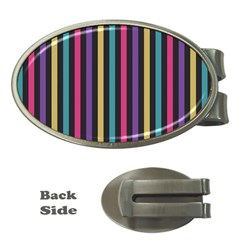 Stripes Colorful Multi Colored Bright Stripes Wallpaper Background Pattern Money Clips (Oval)